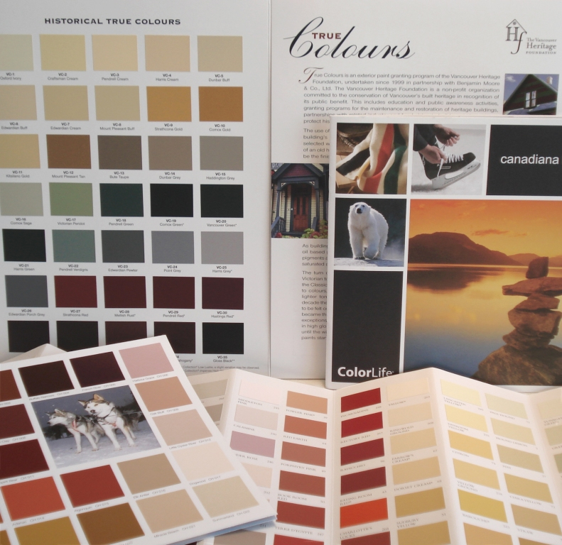 Colour palettes from Farrow & Ball, Benjamin Moore, General Paints
